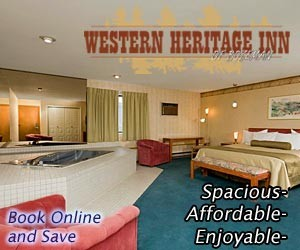 Western Heritage Inn - by Travelodge : Newly-renovated rooms & suites near shops, dining, cultural events & more. AAA rated, hot tub/steam room, and complimentary hot breakfast. ONLINE DIRECT BOOKING for best rate period. Some rooms feature in-room jacuzzi tubs, some with mini-kitchens, all are clean and comfortable.