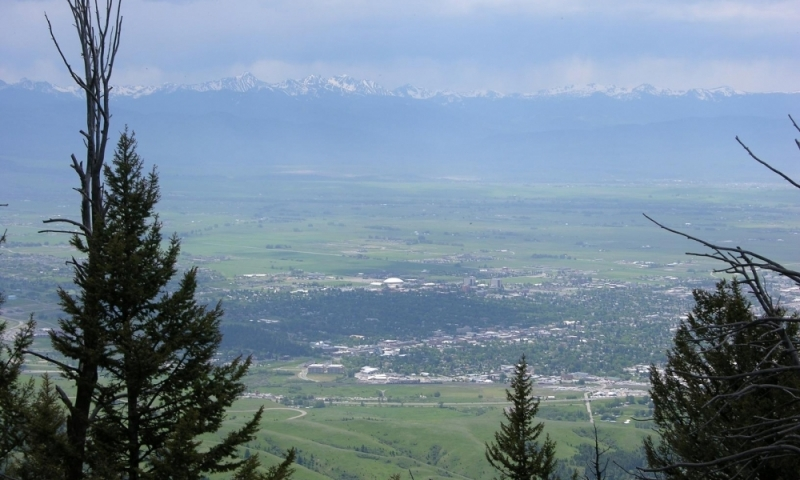 View of Bozeman while hiking to Baldy Mountain from the M