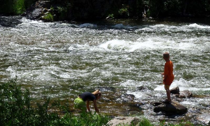 Kids Playing on Madison River near Ennis