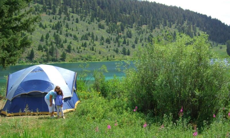 Family Camping at Wade Lake near Cameron Montana
