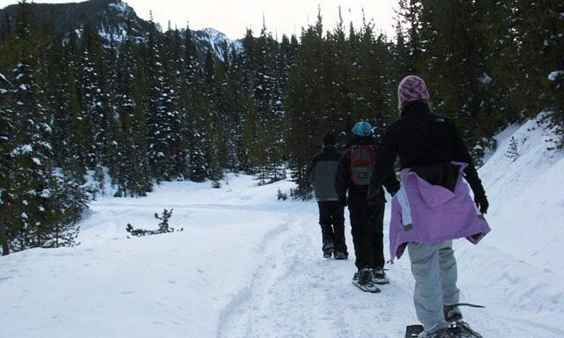 Snowshoeing in Hyalite Canyon near Bozeman