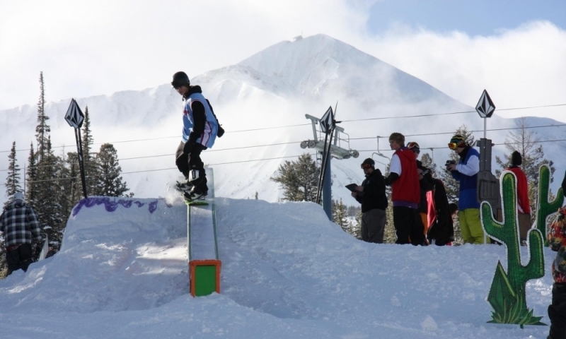 Bozeman Montana Moonlight Basin Skiing Ski Resort Winter Rail Jam Competition Big Sky